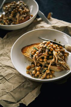 Vegan rosemary mushroom + chickpea ragoût on toast