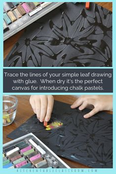 Learn how to draw a leaf then put those skills into action with this pastel chalk and glue leaf drawing done on black paper. Watch those colors pop! kids children Leaf Drawing- How to Draw a Leaf with Glue and Chalk Chalk Pastel Art, Chalk Pastels, Classe D'art, Glue Art, Leaf Drawing, Drawing Drawing, Ecole Art, School Art Projects, Craft Projects