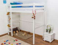 Children's bed / Loft Bunk bed solid pine wood, in a white paint finish120 – Dimensions 90 x 200 cm £269