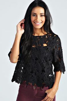 Sylvie Cut Out Flower Shell Top at boohoo.com