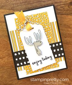 Pick a Pattern & Pieces & Patterns birthday card created by Mary Fish, Stampin' Up! Demonstrator. 1000+ StampinUp & SUO card ideas. Read more https://stampinpretty.com/2017/05/adorable-moose-birthday-card.html