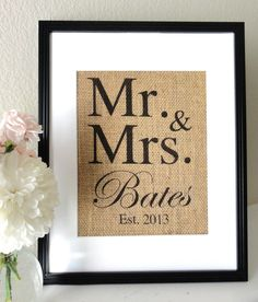 Burlap Art, Personalized Mr and Mrs, Gift for Weddings, Engagements, Showers, Announcement, Print or Sign