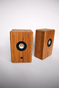 Bamboo full-range speakers in a bamboo cabinet.