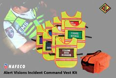 """Alert Visions Incident Command Vest Kit (8 Vests w/ Panels): Includes eight high visibility one-size-fits-all poncho style vests with Velcro strips on front and back for attaching removable title panels. Vests have 3M Scotchlite reflective """"triple-trim"""" and adjustable nylon webbing side straps. Also includes eight pair of color-coded title panels with Velcro strips on back for attaching to vests."""