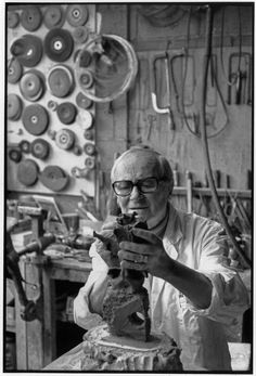 "2000-lightyearsfromhome: "" Henri Cartier-Bresson FRANCE. Paris. 1972. Spanish painter and sculptor, Joan MIRO in a foundry. """