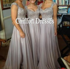 Lace And Chiffon Long Elegant Wedding Dress Lace by chiffondresses, $130.00 would be so pretty in black!