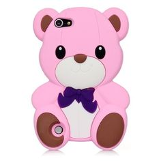 Pink Cute 3D Cartoon Animal Teddy Bear Silicone Back Case for iPod Touch 5 iTouch 5(Color Optional)