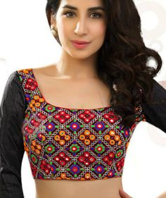 Multicolored Square Neck #Blouse Full Sleeves Blouse Designs, Blouse Neck Patterns, Best Blouse Designs, Silk Saree Blouse Designs, Indian Look, Indian Wear, Lacy Tops, Crop Tops, Stylish Blouse Design