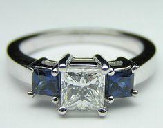 2.60ct Princess Diamond and Sapphire Engagement Ring 18kt White Gold JEWELFORME BLUE Bridal Birthday Jewelry