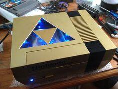 Gold Zelda NES with Triforce window and LED's by Hananas-nl.deviantart.com on @deviantART