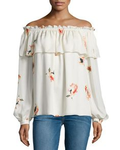 Floral+Silk+Off-the-Shoulder+Blouse,+Hounds+of+Love+by+Haute+Hippie+at+Neiman+Marcus.