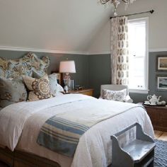 Guest Bedroom with Shades of Blue; two-tone paint separated by chair rail /moulding; Early American hardware on chest ~ Sarah Richardson sarah house guest bedroom blue Farmhouse Master Bedroom, Home Bedroom, Cottage Bedrooms, Bedroom Chair, Bedroom Modern, Master Bedrooms, Dado Rail Bedroom, Bedroom Wall, Kids Bedroom