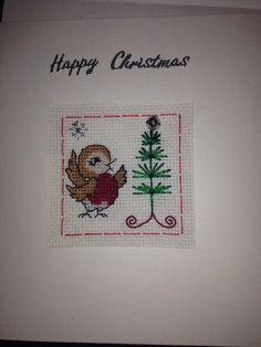 Robin cross stitch Christmas card