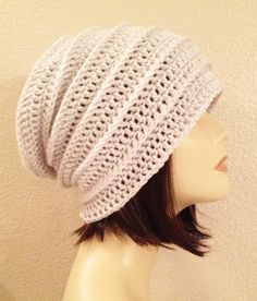 ribbed long slouchbeaniecaphat hand crochet unisex by Jeniebugs