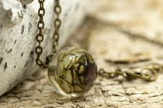 Bronze, Kugel, Pendant Necklace, Jewelry, Real Flowers, Crystals, Neck Chain, Jewlery, Jewerly