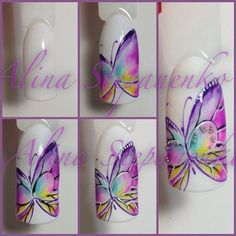 Butterfly Nail Art by Nails University! Butterfly Nail Designs, Butterfly Nail Art, Nail Art Designs, Nails Only, Love Nails, Pretty Nails, Sculpted Gel Nails, Animal Nail Art, Nail Polish Art