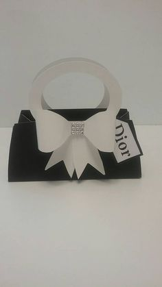 10 pc paper purse favor box.  Black and white paper purse gift bag.