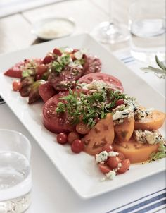 Heirloom Tomato Salad with Point Reyes Blue Cheese Appetizer Recipes, Salad Recipes, Appetizers, Easy Summer Salads, Summer Recipes, Blue Cheese Recipes, Artisan Food, Tasty Bites, Heirloom Tomatoes
