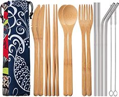 Blulu 2 Set Bamboo Utensils Travel Cutlery Set Flatware Set Inches Bamboo Knife Fork Spoon Chopsticks, Stainless Steel Straight Straw Bent Straw with Clean Brush and Cloth Pouch Spoon Knife, Knife And Fork, Utensil Set, Flatware Set, Metal Straws, Stainless Steel Straws, Chiffon, Gabel, Chopsticks