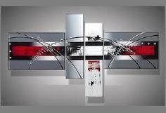 Toiles peintures tryptique abstrait rouge gris recherche google formes c - Toiles modernes design ...