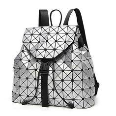 DIOMO Geometric Lingge Laser Women Backpack Travel Shoulder Bag(Silver) 7d99d15a33
