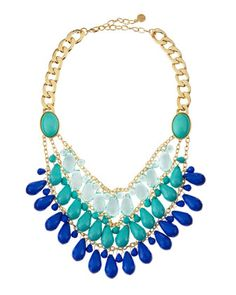 Turquoise-Blue Teardrop Bib Necklace by R.J. Graziano at Last Call by Neiman Marcus.