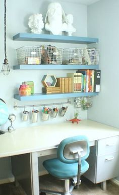 If you dream of shelves of storage and rows of organization, then you'll enjoy this collection of Six Storage Solutions for getting playrooms, bedrooms, and craft rooms all nice and tidy. Gotta love that!