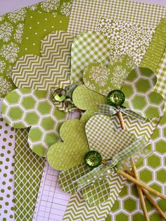 Shamrocks made with Bazzill's Basics collection in Intense Kiwi.