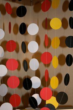Guirnalda, guirnalda de colores de Mickey Mouse, fiesta de Mickey Mouse, Mickey Mouse decoración, circls Die cortar el círculo