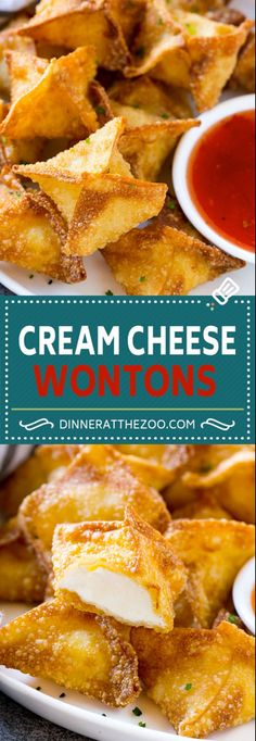 French Delicacies Essentials - Some Uncomplicated Strategies For Newbies Cream Cheese Wontons Recipe Cream Cheese Rangoon Wonton Appetizer Wonton Appetizers, Wonton Recipes, Appetizer Recipes, Snack Recipes, Cooking Recipes, Italian Appetizers, Easter Recipes, Easy Wonton Recipe, Recipes Dinner