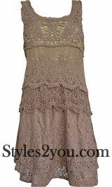 Pretty Angel Clothing Antique Lace Dress In Brown