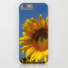 Floral phone case | Sunny sunflower, garden photo, iphone, ipod, galaxy s7, s6 s5 s4, nature photograph, color photography, yellow gold blue by RVJamesDesigns on Etsy