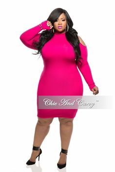 new plus size bodycon with cold shoulder and long sleeves in hot pink chic and - Plus Size Valentine Dresses