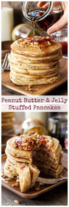 Peanut Butter & Jelly Stuffed Pancakes | Whole wheat pancakes stuffed with peanut butter and jelly, the perfect weekend breakfast!