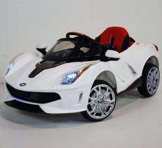 Luxury Ferrari Style Kids Ride On Car MP3 Audio Parent Remote Control White - GarageN1  - 1