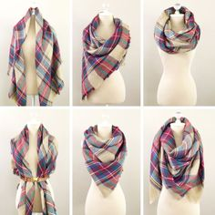 We love these looks!: 6 ways to style a plaid blanket scarf.