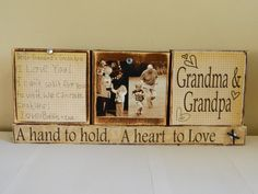 Items similar to Grandparent Christmas gift personalized photo and note brown shabby chic wooden blocks grandma and grandpa a hand to hold a heart to love on Etsy Personalized Photo Gifts, Personalized Christmas Gifts, Xmas Gifts, Diy Gifts, Grandparents Christmas Gifts, Grandparent Gifts, Family Christmas, Unique Gifts For Dad, Gifts For Father