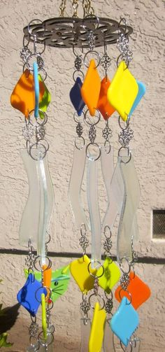 Wind Chime, Fused Glass, Iridescence Clear Glass, & Opaque Glass, Handmade #windchime