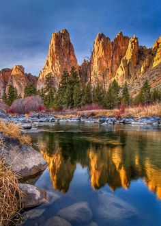 Smith Rocks reflect in the Crooked River - Oregon