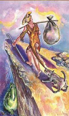 """O Louco no """"Tarot Cabalístico GOM"""" de Shael Yeremyan e Susanna Ayvazian Tarot The Fool, Wiccan Books, Tarot Card Meanings, Major Arcana, Oracle Cards, Book Of Shadows, Tarot Decks, Funny Art, Occult"""