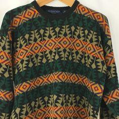 Northern Isles Mens XXL Sweater Multicolor Aztec Diamond Design Ramie Blend #NorthernIsles #Crewneck