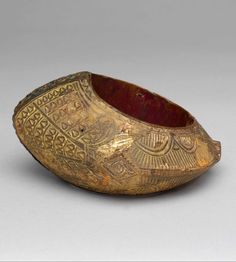Indonesia ~ Sumatra | Woman's bracelet from the Minangkabau people | Wood, gold leaf, metal and paint | 19th to early 20th century