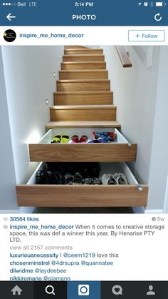 Home Interior Design ** Interior Design Tips And Tricks To Decorate Like A Professional ** Wonderful of your presence to have dropped by to see our photo. Stair Shelves, Stair Storage, Shoe Storage, Storage Ideas, Basement Stairway, Diy Stair Railing, Stair Idea, Flooring For Stairs, Diy Shoe Rack