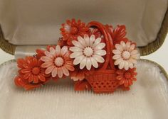 Vintage Finely Carved Salmon Angel Skin Coral Basket of Flowers Brooch Pin | eBay
