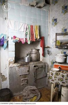 Russian kitchen interior with rundown stove
