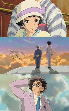 Hayao Miyazaki's 'The Wind Rises' 2013 Studio Ghibli /Look Jiro's pants and coat are the same color as the ribbon on naoko's hat Studio Ghibli Art, Studio Ghibli Movies, Hayao Miyazaki, Jiro Horikoshi, Fan Art, Illustration Essay, Manga, Le Vent Se Leve, Wind Rises
