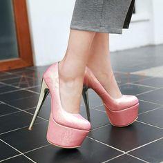 Sexy Glitzer Platform Damenschuhe Hot Modell High Heels Lackleder Farbwahl 30-48