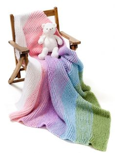 FREE Gradient Garter Baby Blanket knitting pattern in Caron Simply Soft and Simply Soft Collection - Great for charity knitting! Download at LoveKnitting