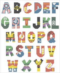 Bogo free superheroes marvel and dc alphabet cross stitch Cross Stitch Letter Patterns, Cross Stitch Letters, Beaded Cross Stitch, Cross Stitch Charts, Cross Stitch Designs, Cross Stitch Embroidery, Embroidery Patterns, Stitch Patterns, Marvel Cross Stitch
