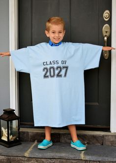 first day of school each year take a picture of child in a shirt with the year they will graduate high school. will be so cute on display at his graduation party someday!